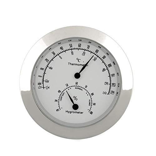 Jingyan Igrometro Termometro Violino per Chitarra Tondo, Igrometro Termometro Digitale, Monitor umidità umidità Temperatura per Strumenti Interni Mini Accessorio Portatile (Argento)
