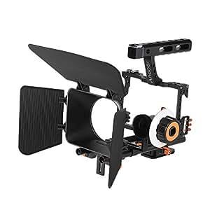 Andoer C500 Alluminio della Lega Videocamera Portatile Cage Rig Kit Fare Film Sistema w / Matte Box + Segue il Fuoco + Handle + 15mm per Panasonic GH4 Sony A7S / A7 / A7R ecc Mirrorless