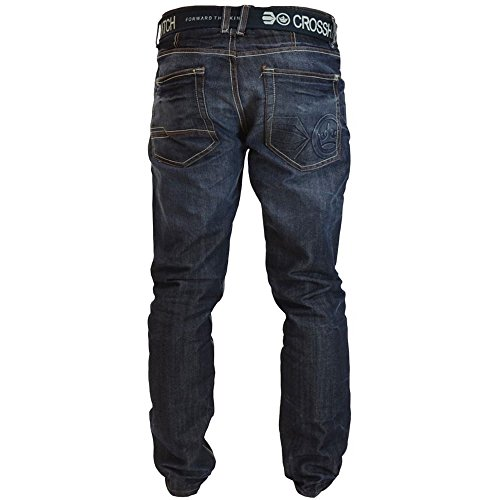 Crosshatch Mens Nouvelles Techno Straignt Leg Jeans Mi Oeil Utilisé Délavage Foncé