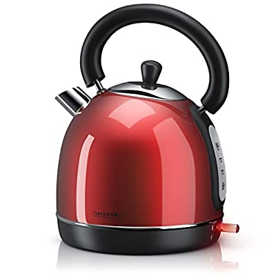 Arendo - 3000W Bouilloire Turbo en Inox | Chaudière au Design Rétro | Forme de Théière | Filtre à Calcaire intégré et amovible | quantité maxi 1,8 litre | coupure automatique | Rouge