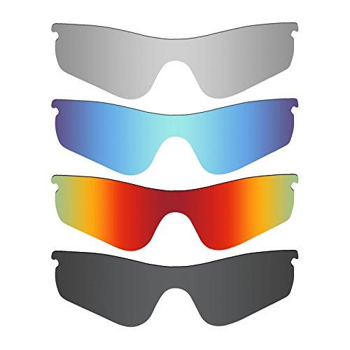 MRY 4Paar Polarisierte Ersatz Gläser für Oakley Radarlock Path Sunglasses-Stealth schwarz/fire rot/Ice blau/Silber Titan