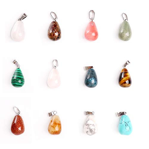 Ciondoli con gemme naturali a forma di 12 pezzi, ciondoli in pietra naturale mista, perline di cristallo chakra per gioielli fai da te, gioielli e braccialetti, con scatola a