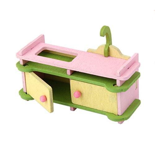 Set Mobili Da Cucina In Legno Decorazioni Casa Delle Bambole In Miniatura, Giocattoli Bambine