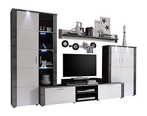 Maisonnerie 1312-987-10 Xpress Ensemble Meubles TV Frêne Blanc, Gris LxHxP 308x197x51 cm