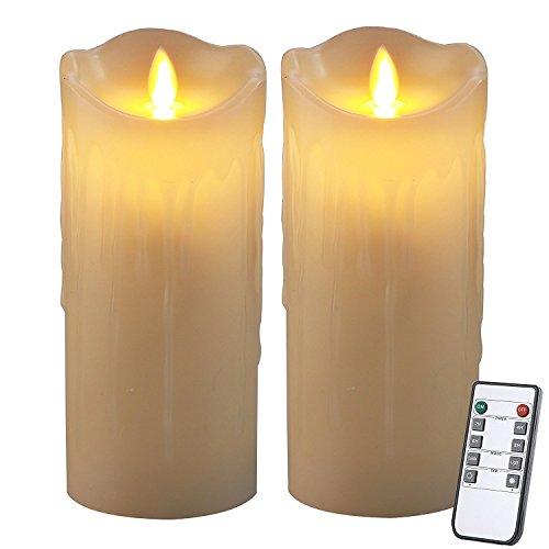 Homemory 7 zoll Batteriebetriebene Flackernden Kerzenlicht mit Fernbedienung, Packung mit 2 Elfenbein Wachs Flameless Falsche Kerze Auto auf und ab mit 2 / 4 / 6 / 8 Stunden Timer - Funktion Für Die Kirche, Spa, Tisch, an der Wand Wandleuchter