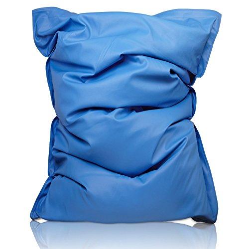 Lumaland Luxury Lederimitat XXL Sitzsack 380l Füllung 140 x 180 cm Indoor Outdoor verschiedene Farben Royalblau