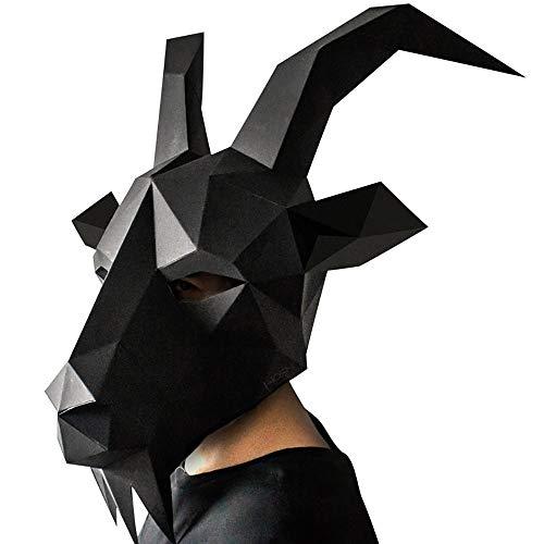 Lhlh Masquerade Maske Augenmaske Für Masquerade Proms, Nachtclub, Halloween-Party, Weihnachten, Ostern, Masken Cool Hübschen Ziegenkopf Schwarz 20 * 16 cm
