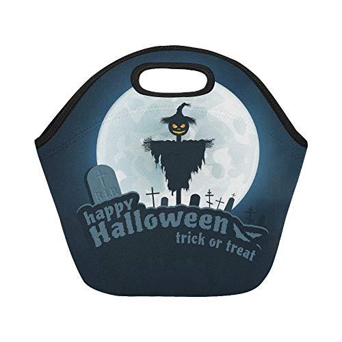 Isolierte Neopren-Lunch-Tasche Happy Halloween Trick Treat Blau Große wiederverwendbare thermische Dickes Mittagessen Tragetaschen Für Brotdosen Für den Außenbereich, Arbeit, Büro, Schule