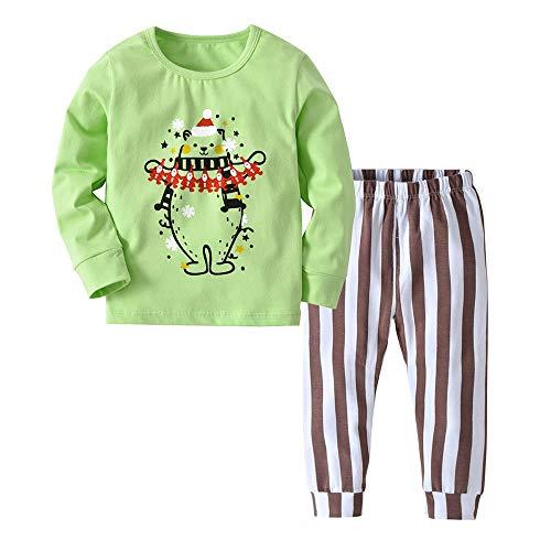Weihnachten Weihnachtsmann 2er Set Baby Kleinkind Mädchen Junge Oberteile Streifen Hosen Outfit Kleidung