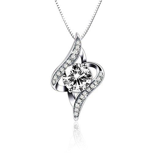ONECK Collana da Donna in Argento 925 con Pendente Ciondolo di Zircone Bianco Lunghezza 45cm Gioielli con Confezione Elegante
