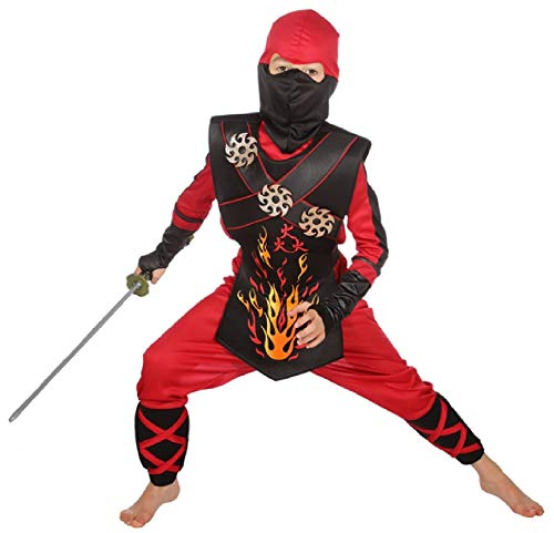 Ninja Dragon Kostüm Krieger - narrenkiste W3386-128 schwarz-rot Kinder Junge Mädchen Ninja Schwertkämpfer Kostüm Gr.128