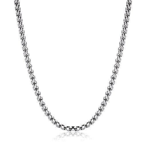 OSTAN 2.5MM Herren Damen Edelstahl Silber Box Kette Briolette Kette Venetian Link Kette Link Collier Halskette 65 CM - 2