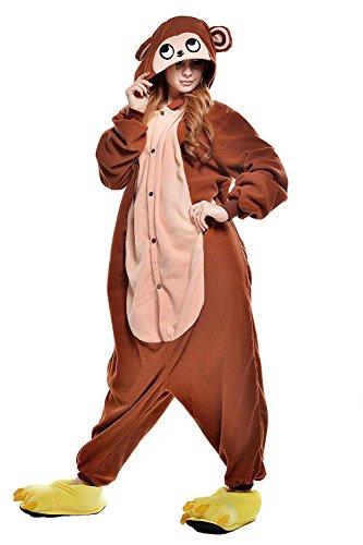 sex Jumpsuit Tier Cartoon Fasching Halloween Pyjama Kostüm Onesie Fleece-Overall Schlafanzug Braun AFFE Large ()