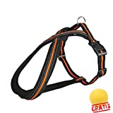 TRIXIE FUSION TGF +BALL Gratis Touren-Geschirr Regulierbaregeschirre Hundegeschirre Hunde (M(45-70 cm/25 mm), Schwarz/Orange)