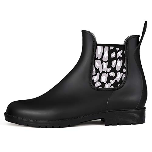 K KomForme Women Rain Boots, Chelsea Short Ladies Waterproof Wellington,Rain Shoes for Women Size 3-7