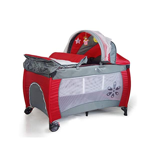 Mr.LQ Multifunctional Foldable Crib Portable Game Bed,Red  [Folded Baby Cot]Due to its folding design, you can take it to anywhere as you like by packing it in the supplied carry bag, and it just takes you a while to fold or unfold it before using. [See-through safety mesh]It features mesh cloth on both sides, this netted areas allow your baby to see out clearly as well as an onlooker to see in to her/him, and it also offers great ventilation for your baby. [Easy to Move] It designed in two wheels and two legs, you can move it around easily without any problems with the help of two wheels, and there is no issue to worry the stability due to the two sturdy legs. 1