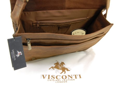 Umhängetasche/Arbeitstasche A4 aus Leder von Visconti (18548) - Größe: B: 35 H: 27,5 T: 10,5 cm Öl Hellbraun