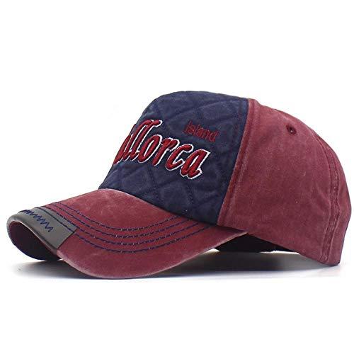 Mallorca Stickerei Buchstaben Snapback hüte für männer und Frauen gewaschen Patch Baumwolle Baseball caps Product @ Wine_red_and_Navy_Adjustable_56-60cm