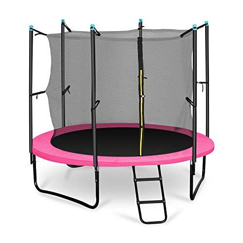 Klarfit Rocketgirl 250 Trampolin Gartentrampolin (250 cm Durchmesser, Sicherheitsnetz, Abdeckbaube, bis max. 150 kg belastbar, Stangen gepolstert, Schaumstoff Abdeckung) pink