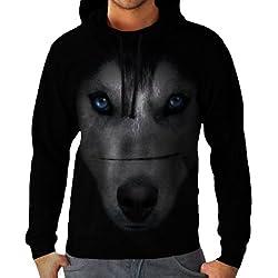 Siberian Husky Dog Big Animal Pet Men Black Hoodie S-5XL | Wellcoda