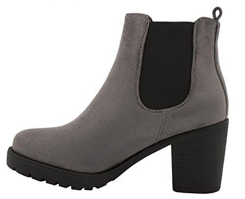 Bottes Elara Femmes Chelsea Profil De Semelle Confortable Boots   Bottes Plateau Chelsea   Bordée De Grau Queen