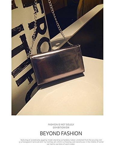 CengBao di Stile coreano nuovo Mini party catena pacchetti piccoli pacchetti a mano in pelle Ladies borse tracolla Messenger Bag di marea, nero argento Nero argento