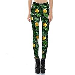 Leggings De Yoga Impresos Con Estilo De Las Mujeres Un Tamaño Medias Extra Suaves Pantalones De Fitness Ligero Transpirable Piña