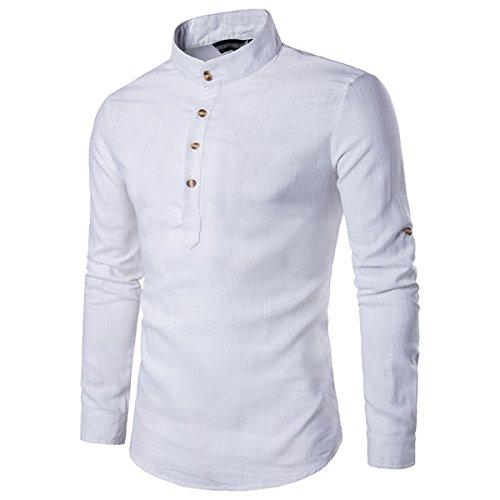 Sue&Joe Herren Freizeit-Hemd, Einfarbig, weiß (Mandarin Weißer Tee)