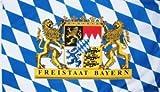 Bayern Fahne mit 2 Löwenwappen und Freistaat Bayern Schrift Grösse 1,50x0,90m - FRIP –Versand