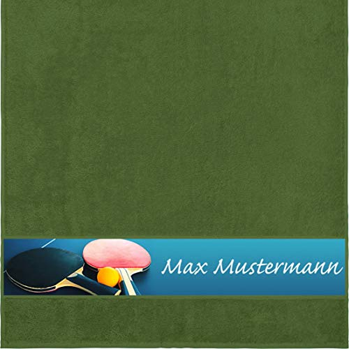 Duschtuch mit Namen - personalisiert - Motiv Sport - Tischtennis - viele Farben & Motive - Dusch-Handtuch - dunkelgrün - Größe 70x140 cm - persönliches Geschenk mit Wunsch-Motiv und Wunsch-Name