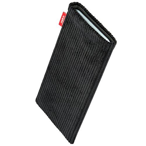 fitBAG Rave Schwarz Handytasche Tasche aus Textil-Stoff mit Microfaserinnenfutter für Apple iPhone 6 Plus / iPhone 6S Plus 5,5 Zoll mit Apple Leather Case Retro Schwarz