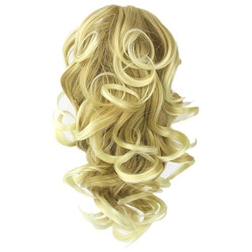 erücke Frauen Damen Haar lockige Cape Lang Wig für Karneval Fasching Cosplay Party Kostüm Blond Weiblich ()