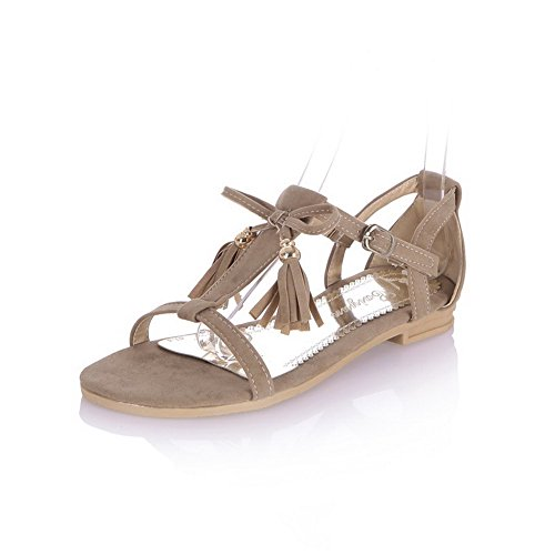 VogueZone009 Donna Fibbia Plastica Tacco Basso Punta Aperta Heeled-Sandals Albicocca