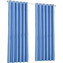 Cortinas Opacas Térmicas Aislantes con Ollaos para Hogar Dormitorio Salón y Oficina, 2 Piezas, 140x245cm, Azul