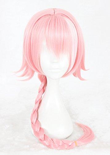 quibine 80cm Perücke Kostüm Cosplay pink Lange Braid Haar Hair Zubehör