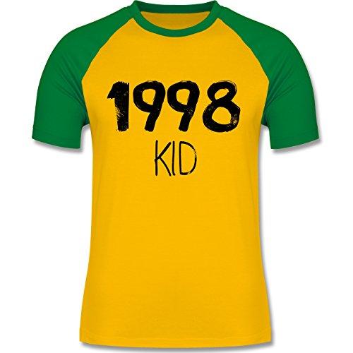 Geburtstag - 1998 KID - zweifarbiges Baseballshirt für Männer Gelb/Grün