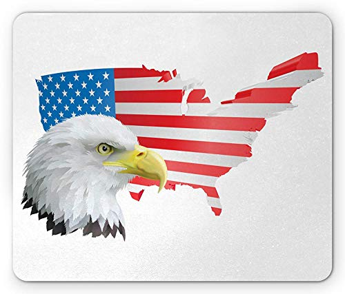 Birds Mouse Pad, Eagle Profile in The American Flag Background Dream Country Hunted Map Freedom Theme, Standard Size Rectangle Non-Slip Rubber Mousepad, Multicolor (Dream Flag American)