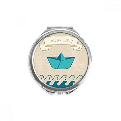 DIYthinker Papier falten Boot Ozean-Liebe Meer Segeln Spiegel Runde bewegliche Handtasche Make-up 2.6 Zoll x 2.4 Zoll x 0.3 Zoll Mehrfarbig