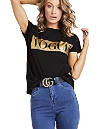 608a8abf1a3 Womens Ladies Short Sleeve Gold Foil Vogue Slogan Printed Casual T Shirt  Top 8-26