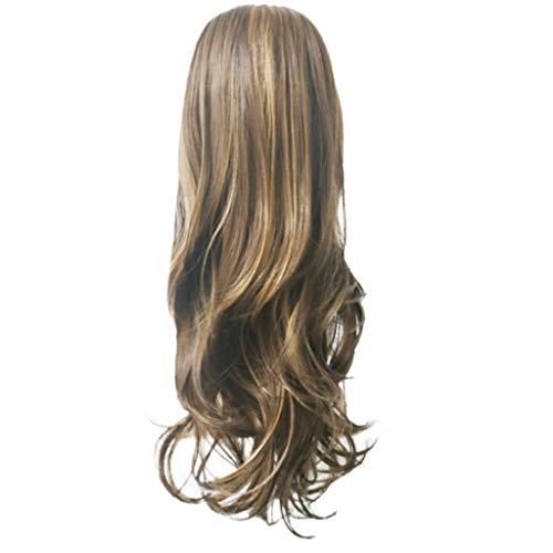 Acconciatura moda lino marrone oro biondo,parrucca diritta sintetica,linlink grandi capelli ricci lunghi e ondulati extension coda capelli con elastico parrucchini per donna