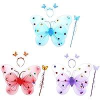 TENDYCOCO 3 piezas de alas de elfo de la mariposa Sparklers Glitter Fairy Cosplay Set Lovely Angel Costume para niños niñas (con iluminación de color aleatorio)