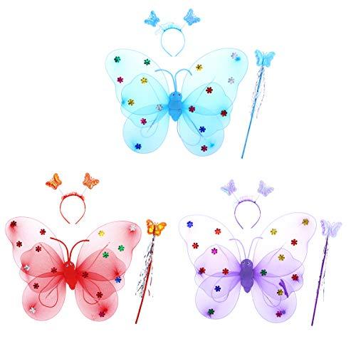 Fairy Glitter Kostüm - Amosfun 3 stücke Beleuchtung Engel Elf Flügel Wunderkerzen Glitter Fairy Cosplay Kostüm Set Kostüm für Kinder Mädchen (Mit Beleuchtung Zufällige Farbe)