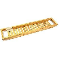 woodluv Cama de Matrimonio Slim de bambú bañera estantes Bandeja