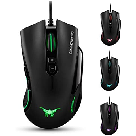 Combaterwing CW10 4800 DPI Wired Gaming Ratón 7 botones LED de 6 Respiración colores para Gamer PC y Mac Negro negro CW10 Black