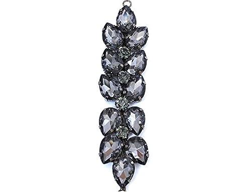 Noir Rhinestone Diamante/Diamant Cristal à coudre Applique Patch pour mariage décontracté formelle Décoration accessoire de mode 120mm x 30mm par Trimming Shop