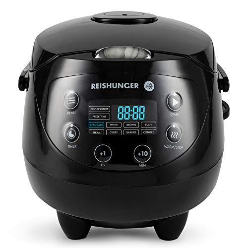 Digitaler Reishunger Mini Reiskocher (0,6l/350W/220V) Multikocher mit 8 Programmen, Schwarz, 7-Phasen-Technologie, Premium-Innentopf, Timer- und Warmhaltefunktion - Reis für bis zu 3 Personen (Digitale Reiskocher)