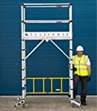 Youngman Teletower Telescopic Aluminium ladder scaffolding, Built in Lockable wheels, Stabilizer Height leveler 5 Adjustable Platform with Trap door Worlds most compact scaffolding Light & Portable