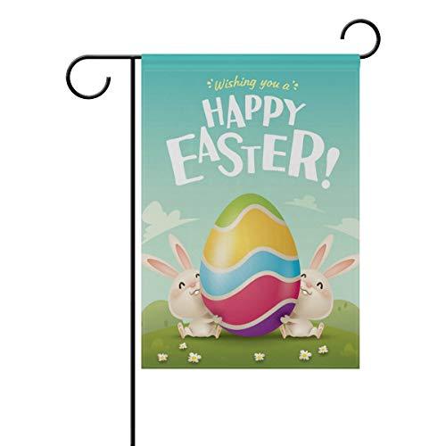 30,5 x 45,7 cm, Happy Osterhasen, Ei, Kaninchen, doppelseitig, Polyester Banner für drinnen und draußen, für Rasen und Hof, Dekoration, Image 602, 28x40(in) ()