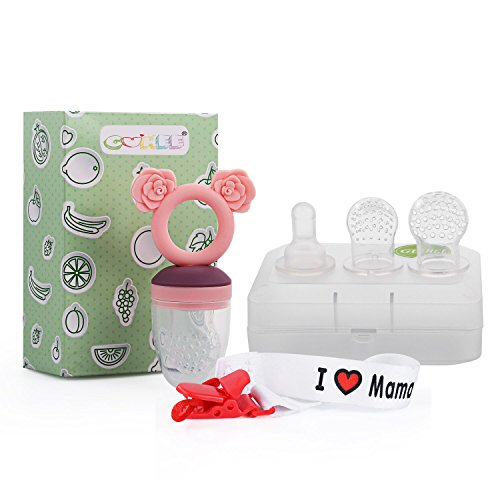 Baby Fruchtsauger GUHEE Lebensmittel Silikon Schnuller Beißring Gemüsesauger mit Schnuller Clips und 3 Silikon Nippel Ersatz (Rosa)