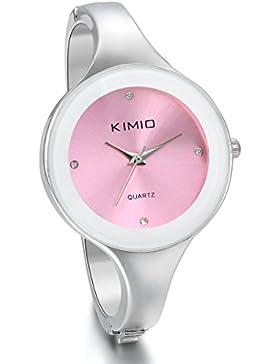 JewelryWe Damen Armbanduhr, Klassiker Elegant Frauen Mädchen Armband Armreif Analog Quarz Uhr mit Pink Rund Zifferblatt...